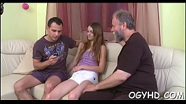 Hot youthful playgirl banged by old guy