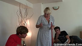Very old skinny granny takes 2 cocks from both sides
