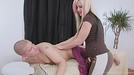 Blonde slut ends up fucking her horny client
