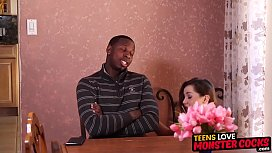 Young babe gets interracial...