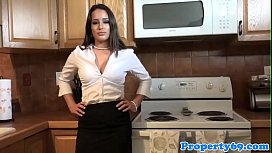 Busty realtor sucking client...