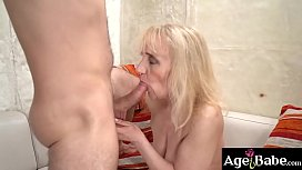 Blonde granny Nanney gets fucked by Rob'_s hard cock