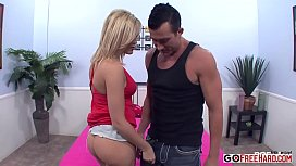 Blonde Alexis pushing her hips against him