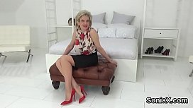 Adulterous english mature lady sonia presents her massive tits