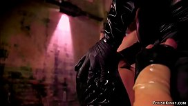 Femdom in latex makes sub fuck her