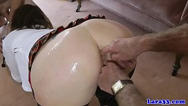 Stockinged mature spitroasted in trio by guys