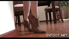 Cutie gets her feet licked, bawdy cleft rubed and gives footjob