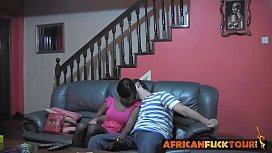 Cute black teen getting...