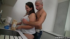 Cooking BBW enjoys riding his meat xxx image