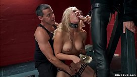 Busty slave takes big cock up ass