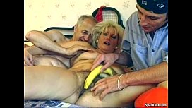 Hairy granny enjoys threesome...