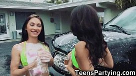 Carwash Teen Besties Fucking...