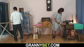 Young customer fucks sewing granny