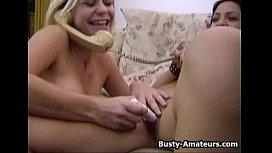 Busty Sunny and Drew masturbates their pussy