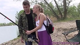 Outdoors teen pussylicked by...