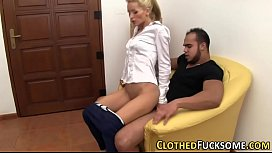 Clothed babe gets fucked...