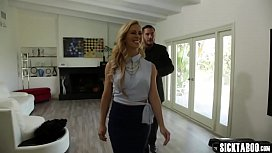 Horny blonde mature shows guy a house and her skills