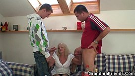Hot 3some party with blonde grandma