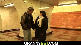 He picks up and doggy-fucks big boobs woman in metro