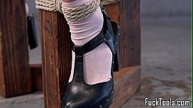 Inked babe restrained for...