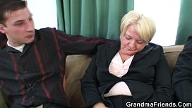 Threesome orgy with granny...