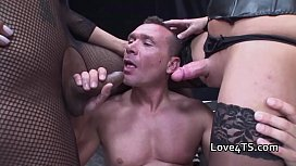 Big cock shemale threesome...