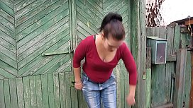 The brunette pissing on nylon tights and jeans, a compilation of dirty fetish videos with a golden shower outdoor in public places.