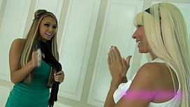 Two blonde mistresses abusing...