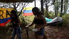 Latina pussy-eating outdoors...