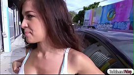 Brunette Annika Eve flashing tits in public and gets fucked