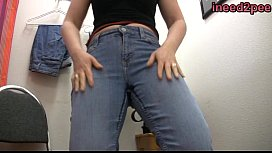 Just panty and tight jeans wetting peeing themselves in shame 29