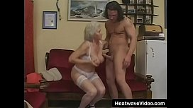 Granny with big boobs proves to be very horny and her old hairy pussy getting hard fucked