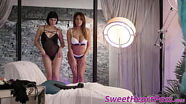 Buxom lesbians play with...