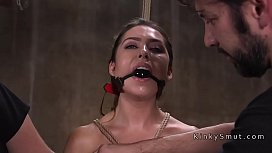 Gagged slave in stockings...