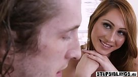Schoolgirl stepsister teen smashed by a nerdy stepbro