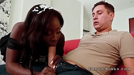 Ebony beauty housekeeper enjoys...