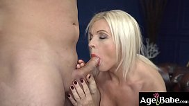 Franny is a horny granny who sucks and   bangs young Rob after a few lessons from   her