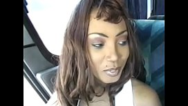 Lusty ebony with a hairy muff Spantaneeus rides black stud on the bus