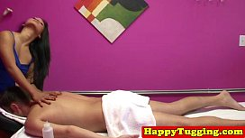 Asian masseuse tugs and...
