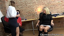 Business grannies double team coworkers juicy pussy