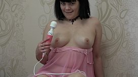 The girl masturbates her pussy with a vibrator and then the dildo