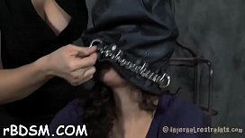 Chained up babe gets from behind plowing from tormentor