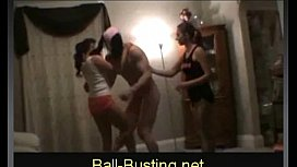 Two HOT Girls Kick & Knee Guy's Nuts xxx