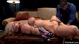 Busty wife gets hogtie from husband