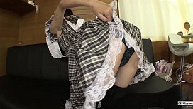 Japanese maid strips bottomless...