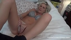 Busty blonde housewife masturbating then sucking cock