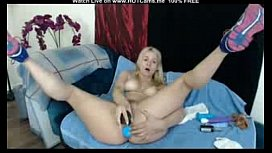 Hot Busty Blonde Plays With Toys DP