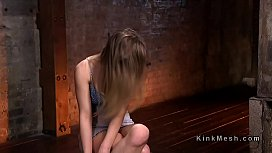Hogtied blonde whipped and...