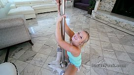 Petite pole dancer takes...