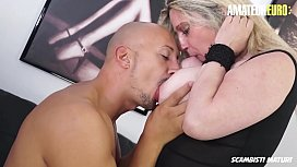 AMATEUR EURO - Big Breasted Cougar Desir&egrave_ Bellavita Almost Squirts From Anal Pounding
